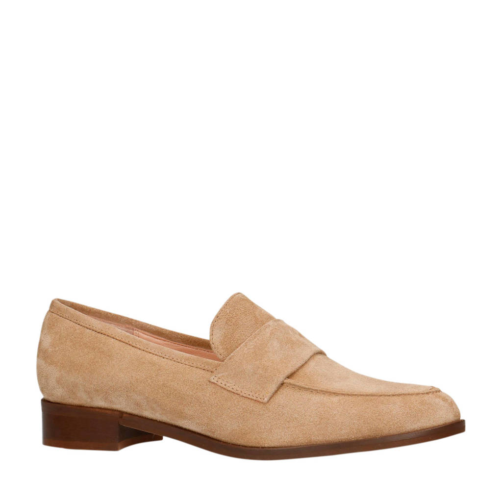 Manfield   suède loafers camel, Camel