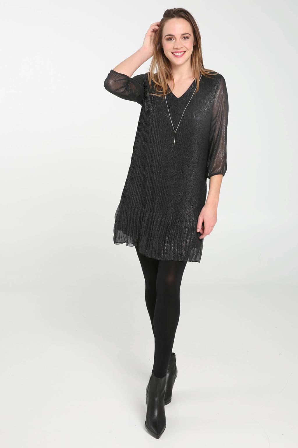 Cassis jurk met glitter en v-hals, Zwart