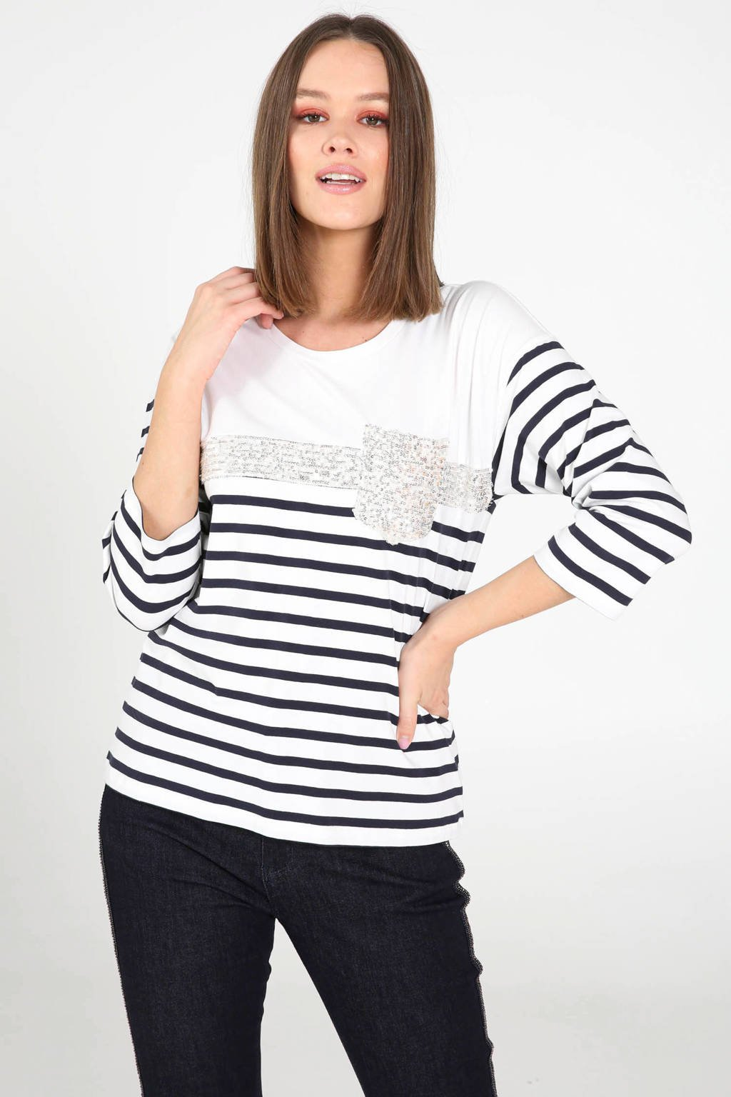 Cassis gestreept T-shirt marineblauw/wit, Marineblauw/wit