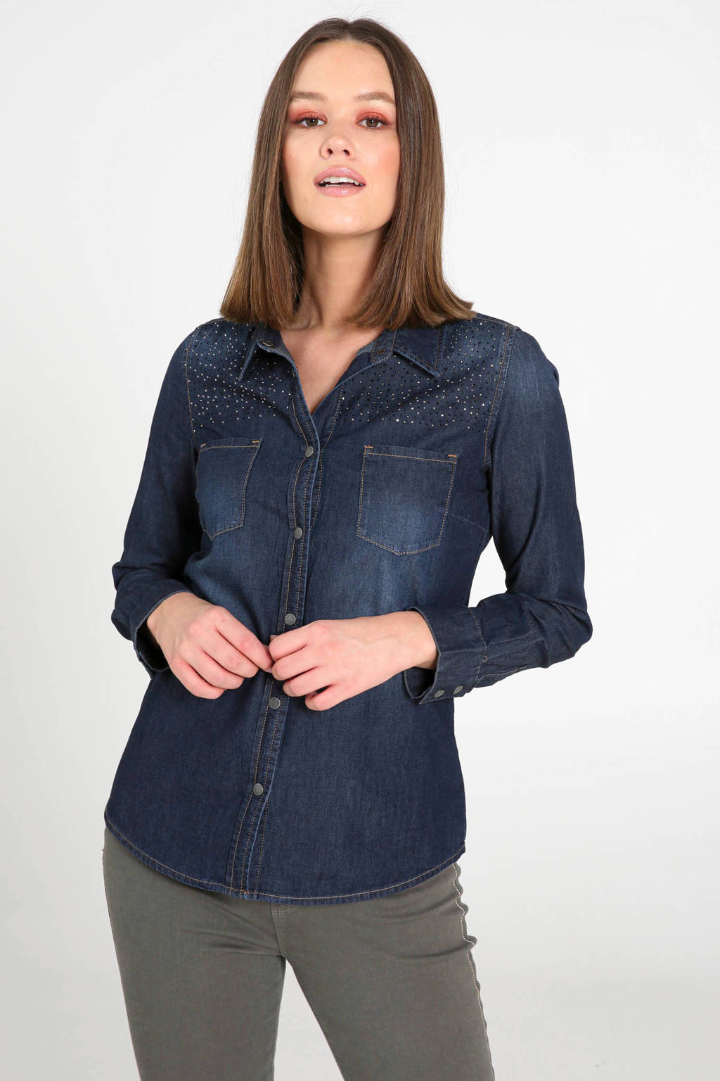 Cassis blouse dark denim, Dark denim