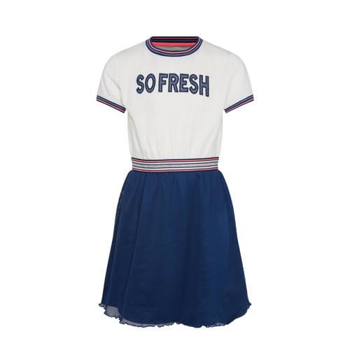 WE Fashion jersey jurk met glitters wit/donkerblau