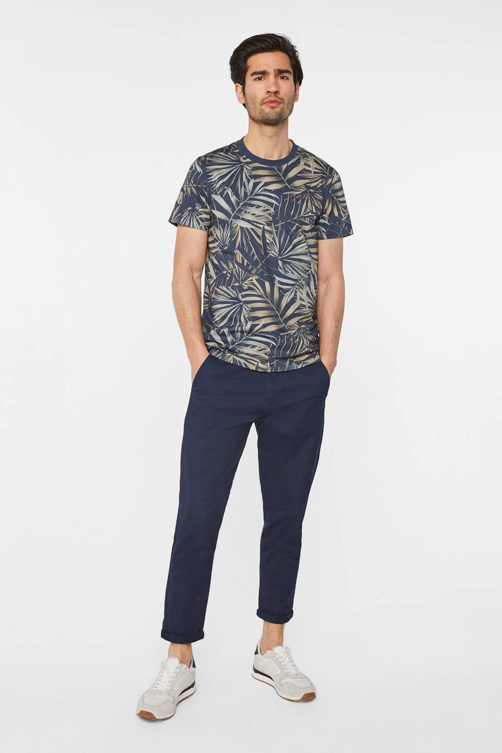WE Fashion T-shirt met bladprint royal navy, Royal Navy
