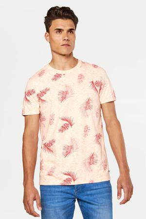 T-shirt met bladprint new ivory