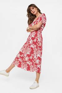 WE Fashion jurk met all over print en ceintuur rood/wit, Rood/wit
