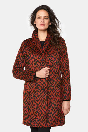 coat met jacquard roodbruin/zwart