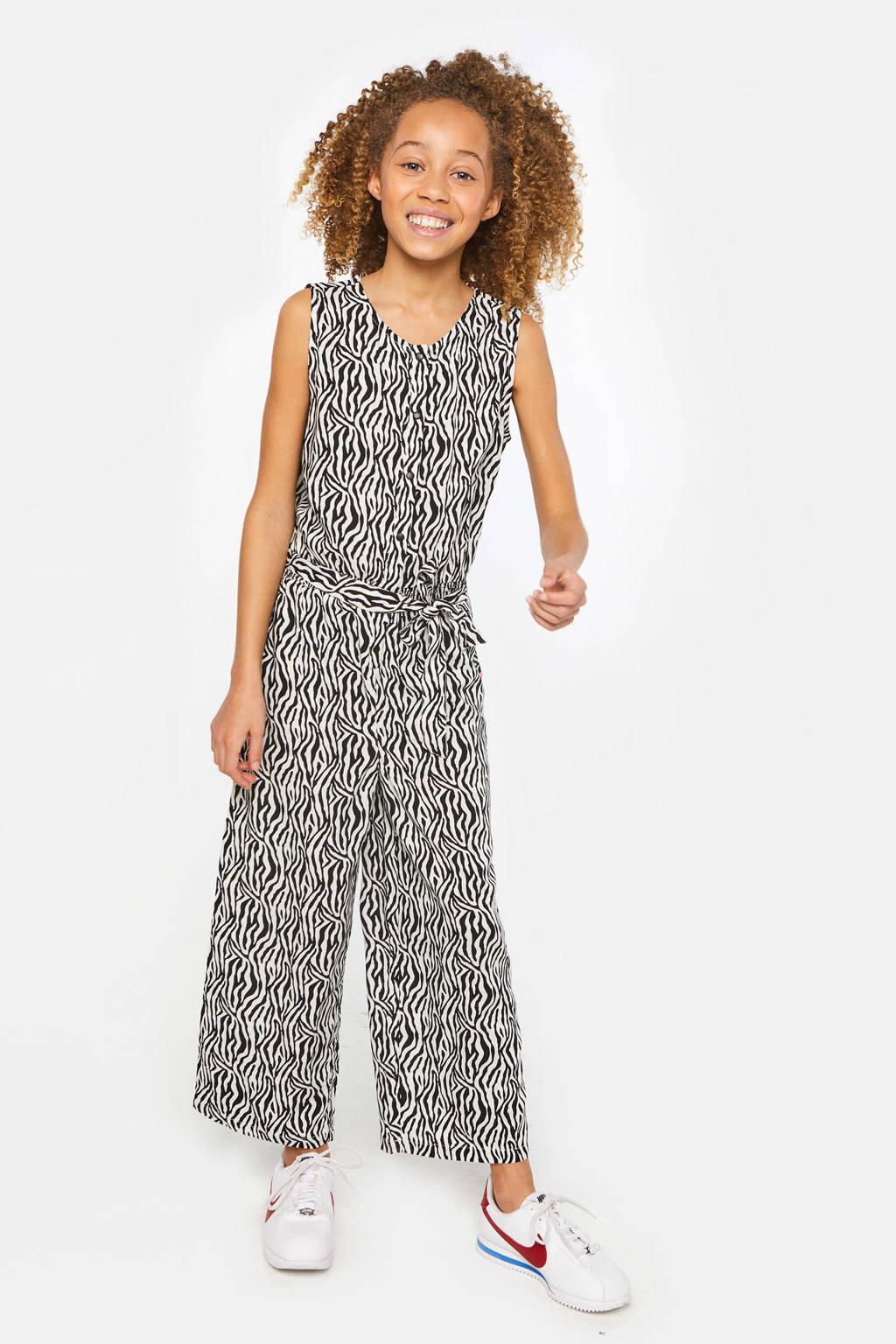 WE Fashion jumpsuit met zebraprint zwart/wit, Zwart/wit