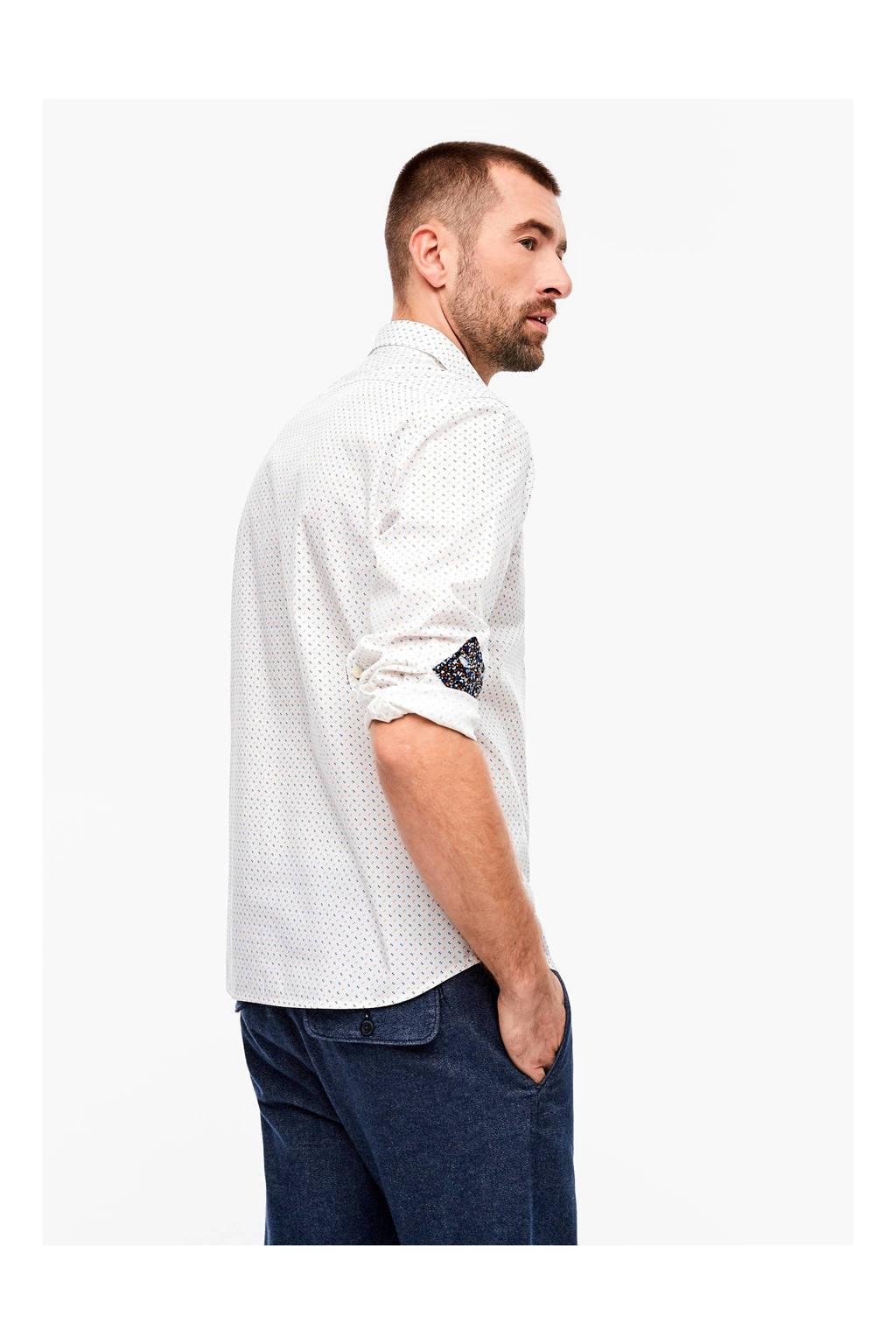 s.Oliver slim fit overhemd met all over print wit, Wit
