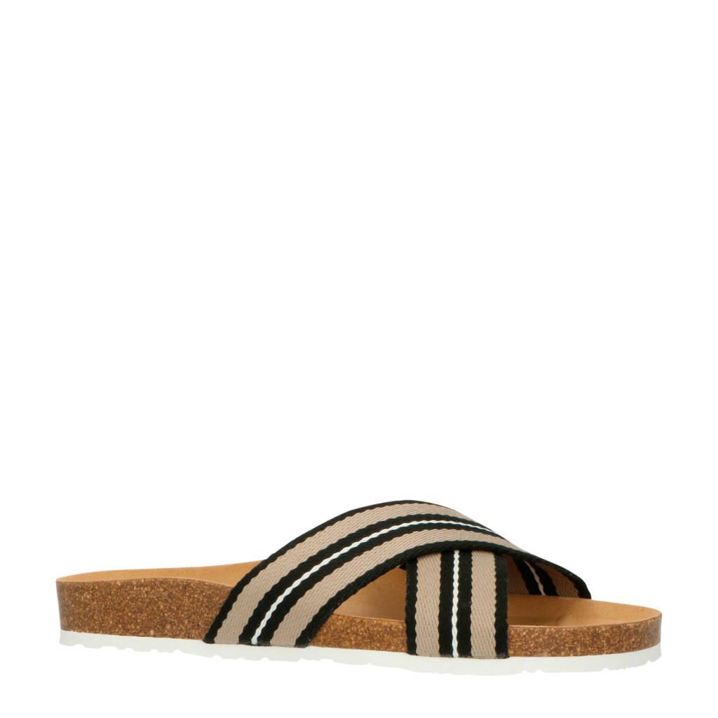ESPRIT   slippers beige/zwart, Beige/zwart