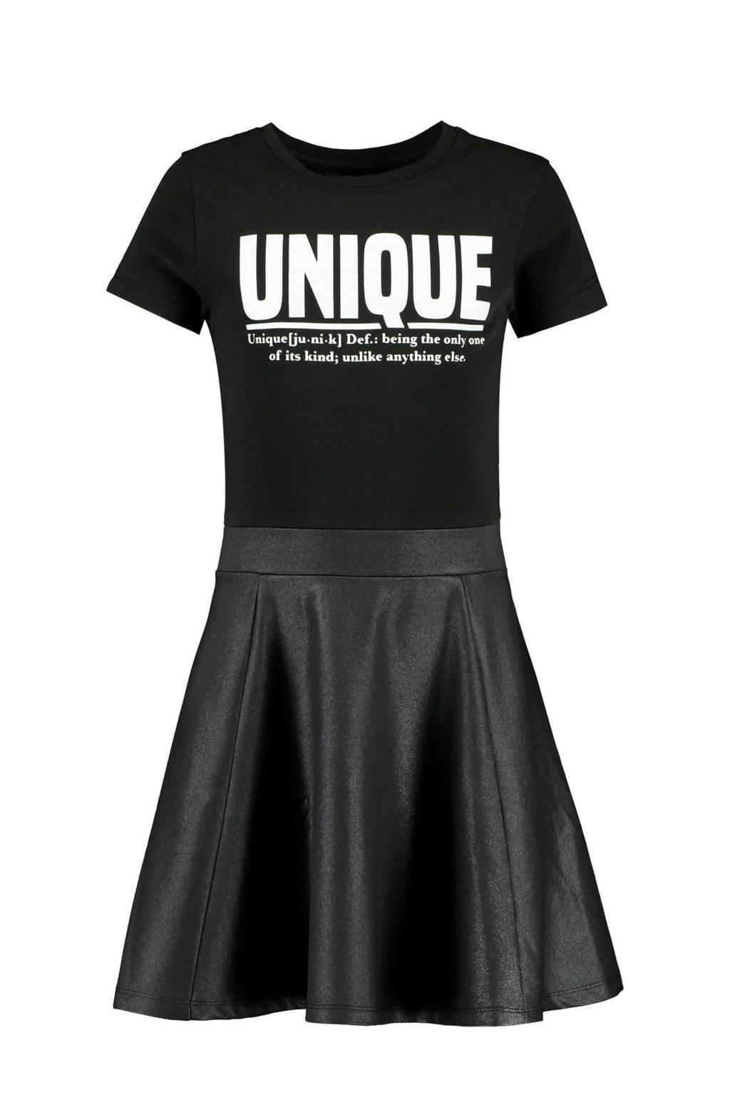 CoolCat Junior jurk Do met imitatieleren rok zwart, Zwart