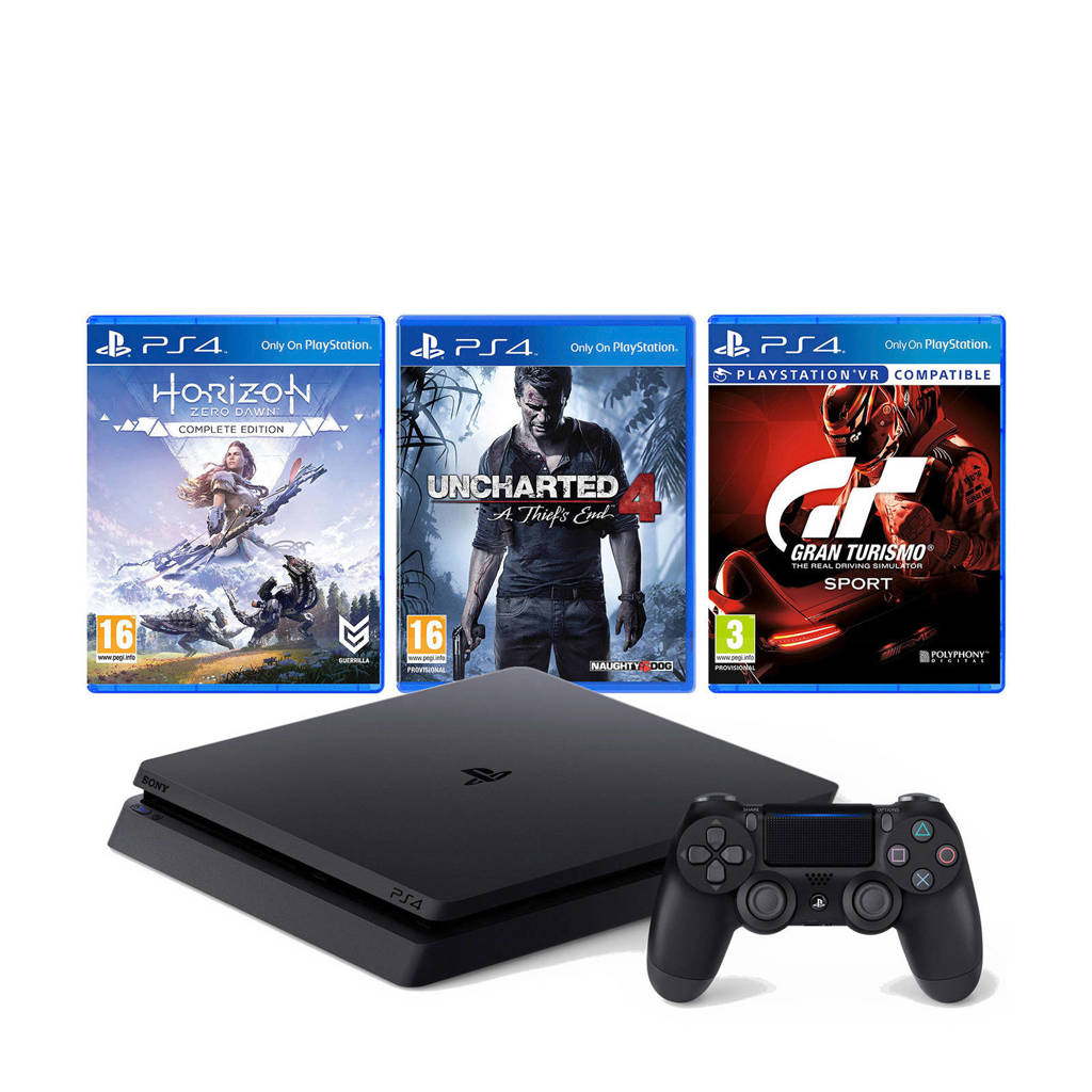 Sony PlayStation 4 Slim 500 GB + Horizon: Zero Dawn + Uncharted 4 + GT Sport, Zwart