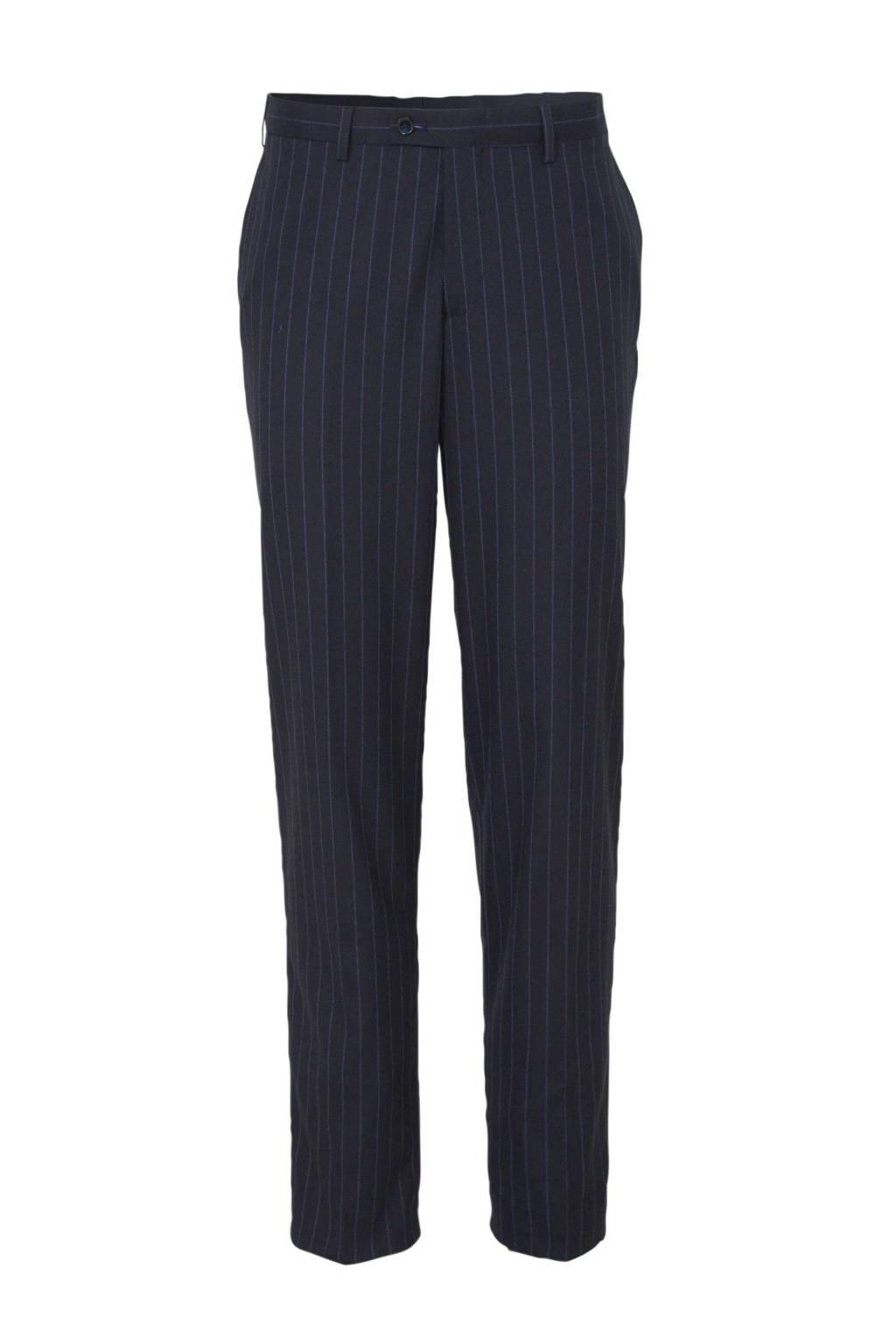 C&A Angelo Litrico gestreepte slim fit pantalon donkerblauw, Donkerblauw