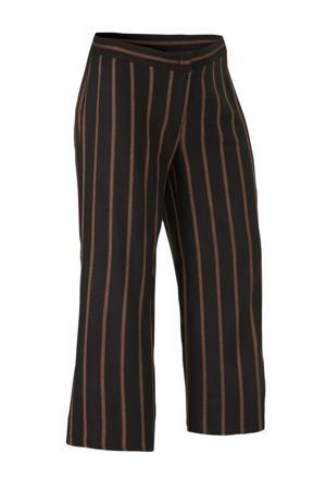 XL Yessica gestreepte high waist palazzo broek zwart/bruin