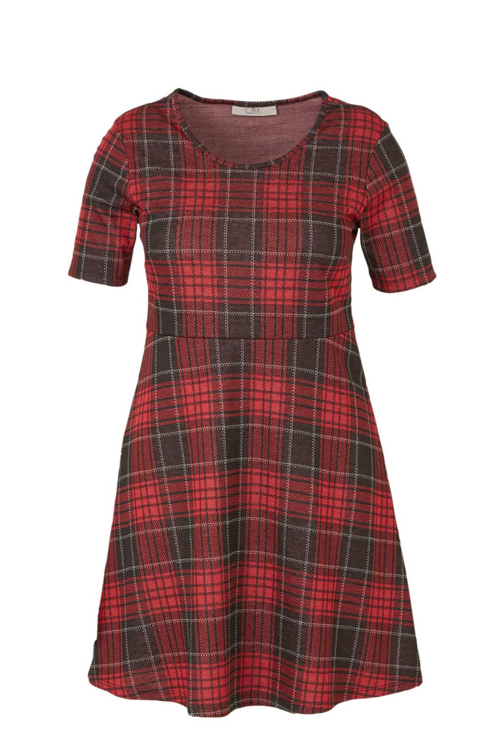 C&A XL Clockhouse geruite A-lijn jurk rood/zwart, Rood/zwart