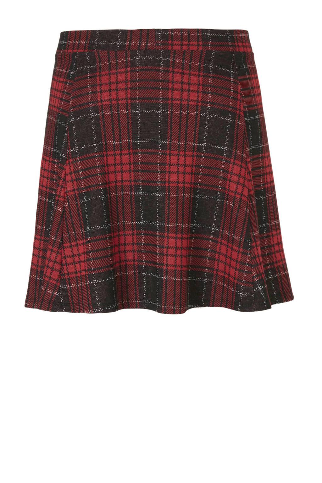 C&A XL Clockhouse geruite rok rood/zwart, Rood/zwart