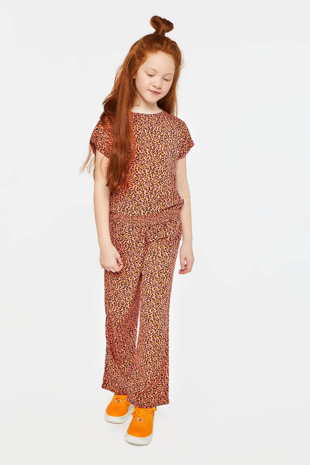 WE Fashion broek met panterprint oranje, Oranje