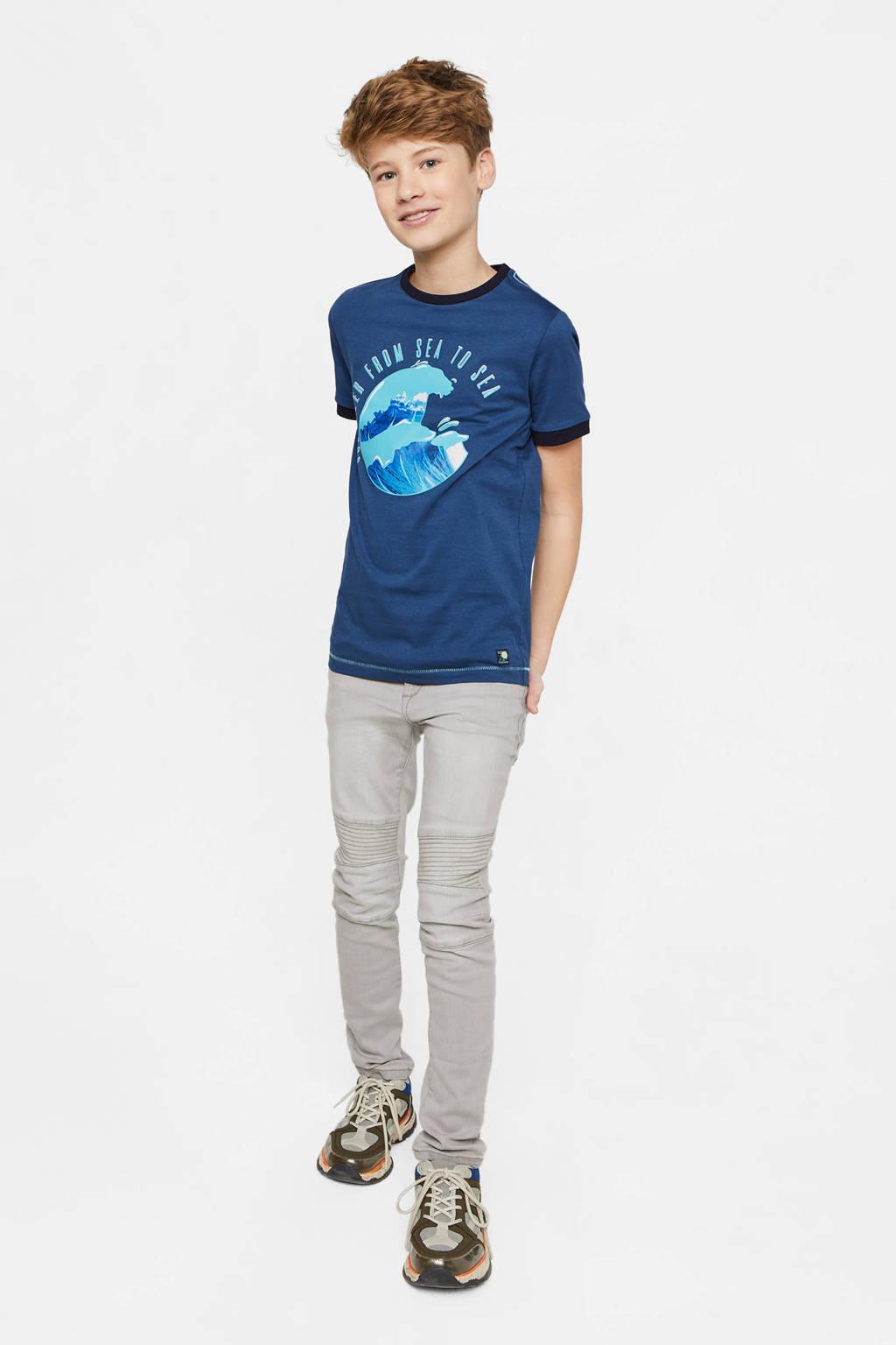 WE Fashion T-shirt met printopdruk blauw/lichtblauw, Blauw/lichtblauw
