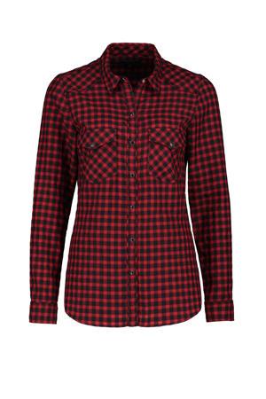 geruite blouse rood,zwart
