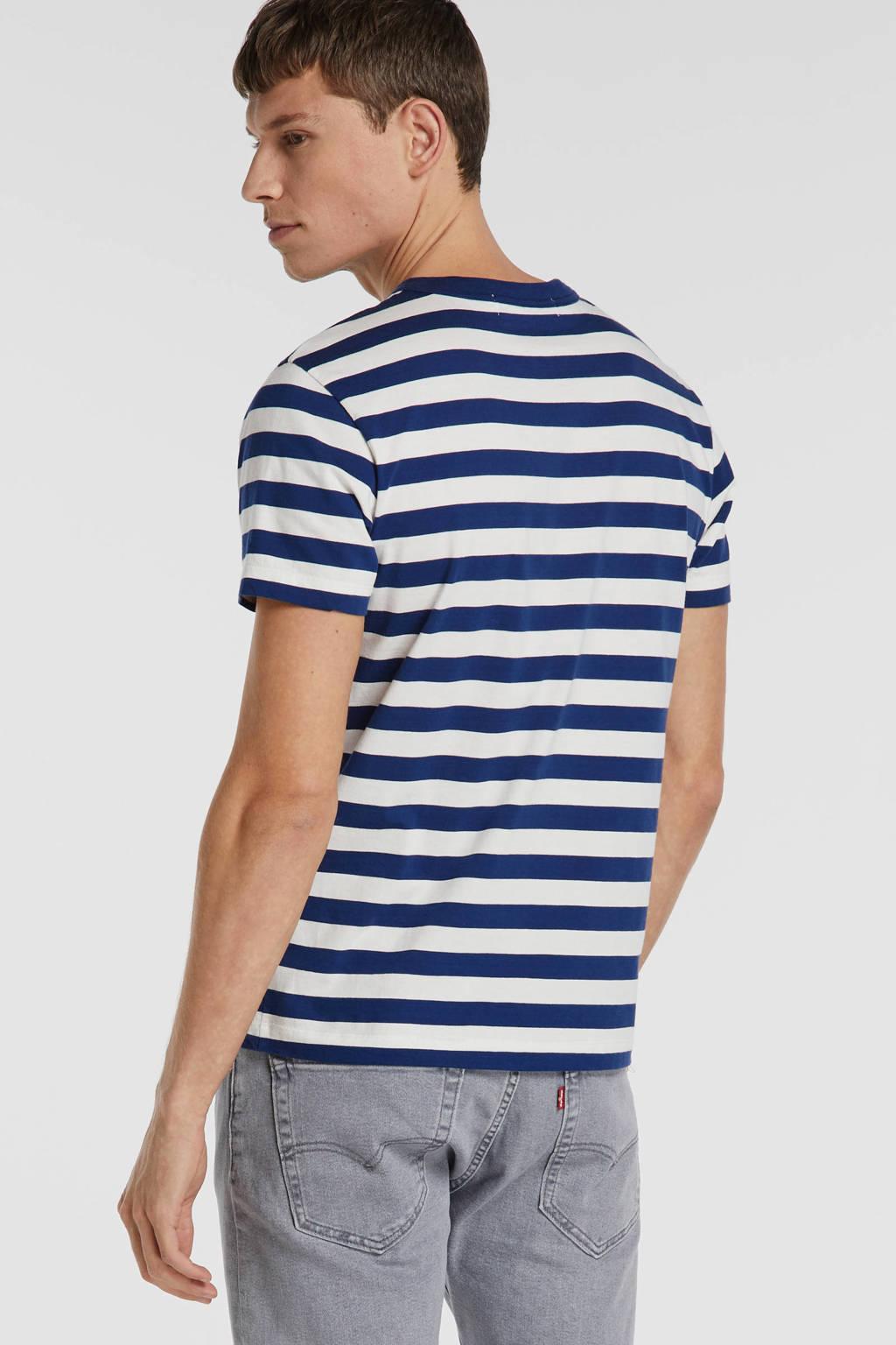 Kings of Indigo gestreept T-shirt blauw/wit, Blauw/wit