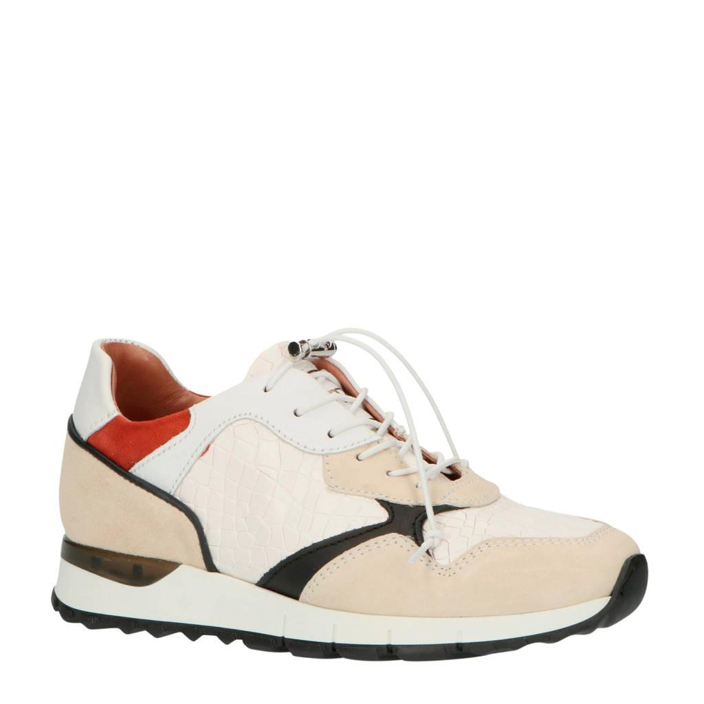 Mjus M11110  leren sneakers crocoprint wit, Wit/multi
