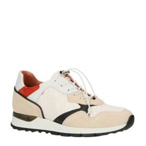 M11110  leren sneakers crocoprint wit