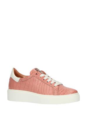 M08112  leren sneakers crocoprint roze