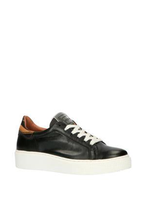 M08112  leren sneakers zwart/bruin