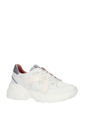 M12110  leren chunky sneakers wit