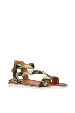 740019  leren sandalen slangenprint