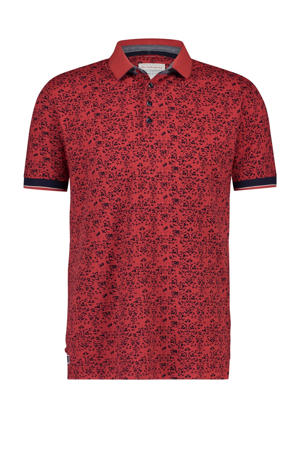 regular fit polo met all over print rood/zwart