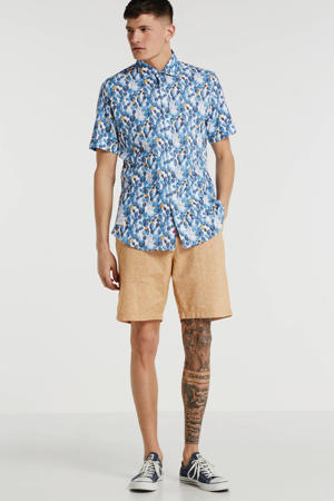 slim fit overhemd met all over print blauw/wit/geel