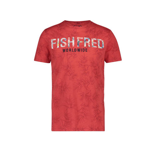 A fish named Fred T-shirt met all over print rood/