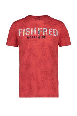 T-shirt met all over print rood/blauw