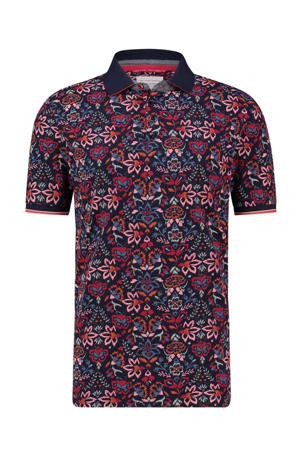 regular fit polo met all over print marine/rood/roze
