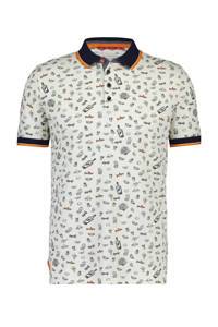 A fish named Fred regular fit polo met all over print wit/blauw/oranje, Wit/blauw/oranje
