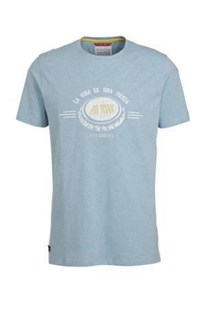 T-shirt met printopdruk lichtblauw/wit