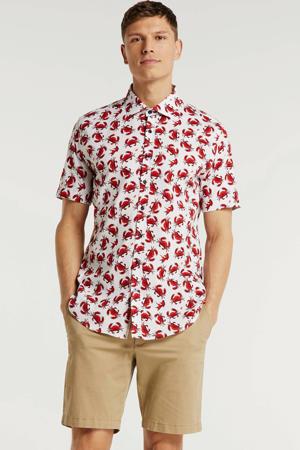 slim fit overhemd met all over print rood/wit