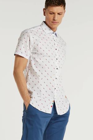 slim fit overhemd met all over print wit/rood