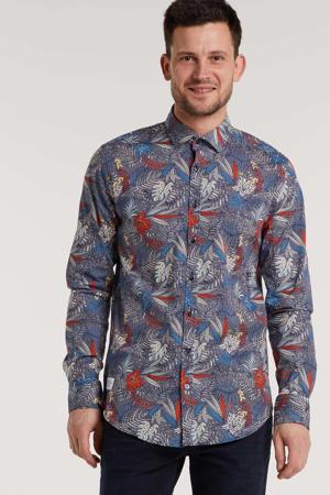 gebloemd slim fit overhemd blauw/multi