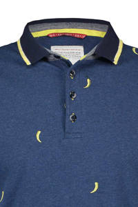 A fish named Fred regular fit polo met all over print donkerblauw/geel, Donkerblauw/geel