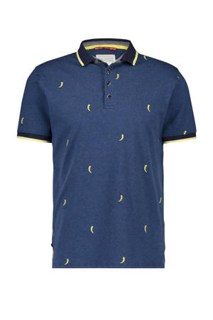 regular fit polo met all over print donkerblauw/geel
