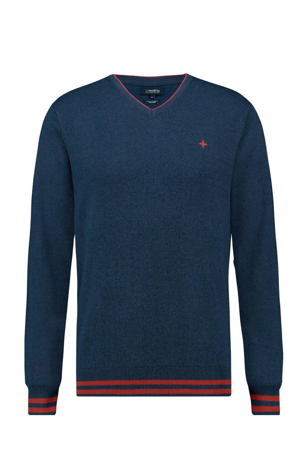 Haze & Finn gemêleerde sweater donkerblauw, Donkerblauw