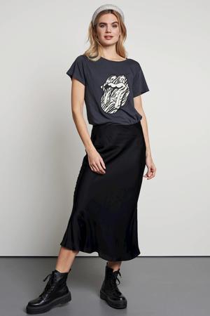 T-shirt met printopdruk donkergrijs