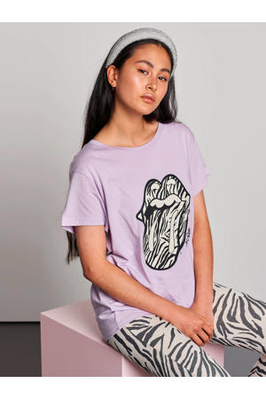 T-shirt met printopdruk lila