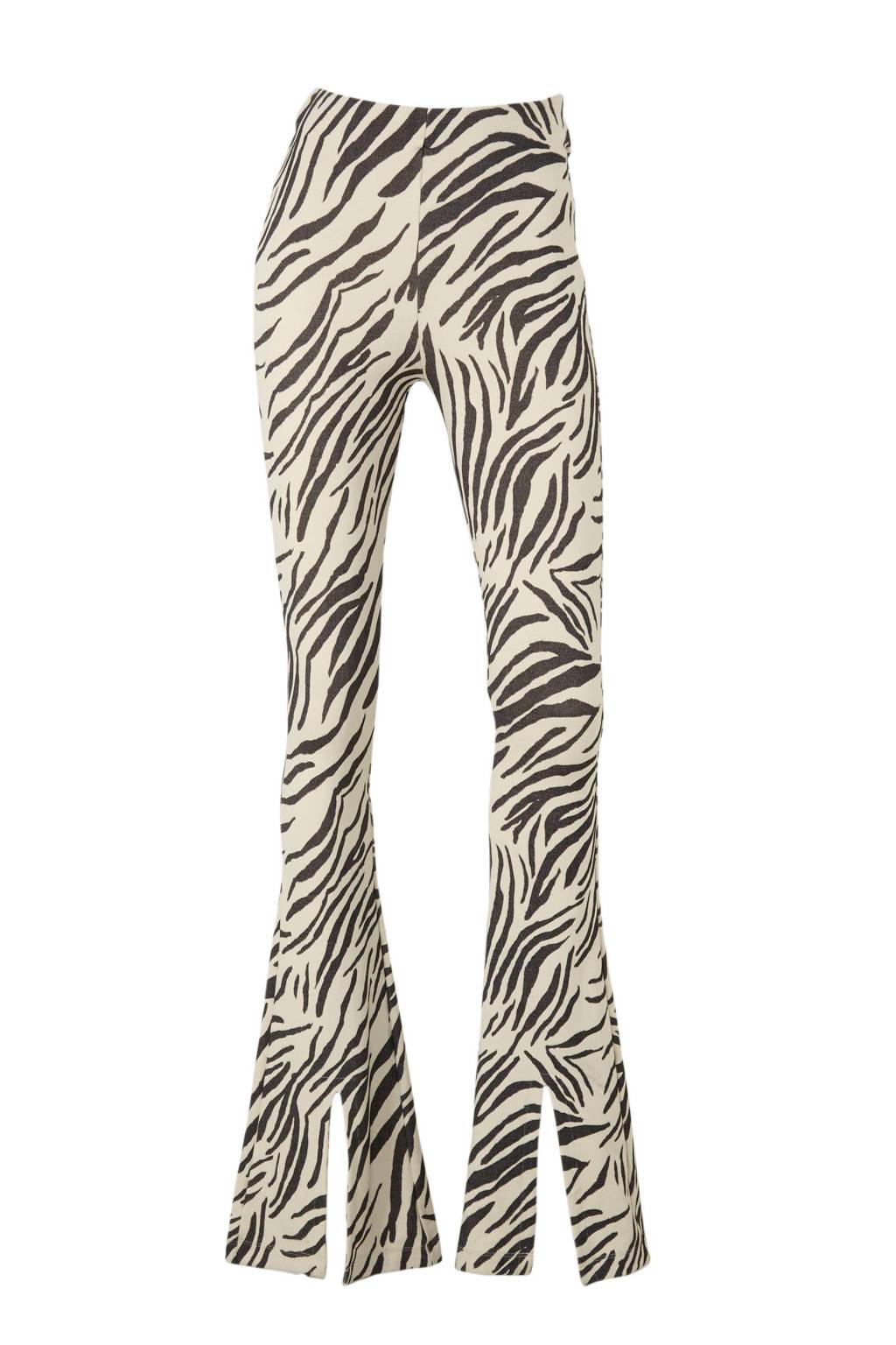 Catwalk Junkie high waist flared broek met zebraprint wit/zwart, Wit/zwart