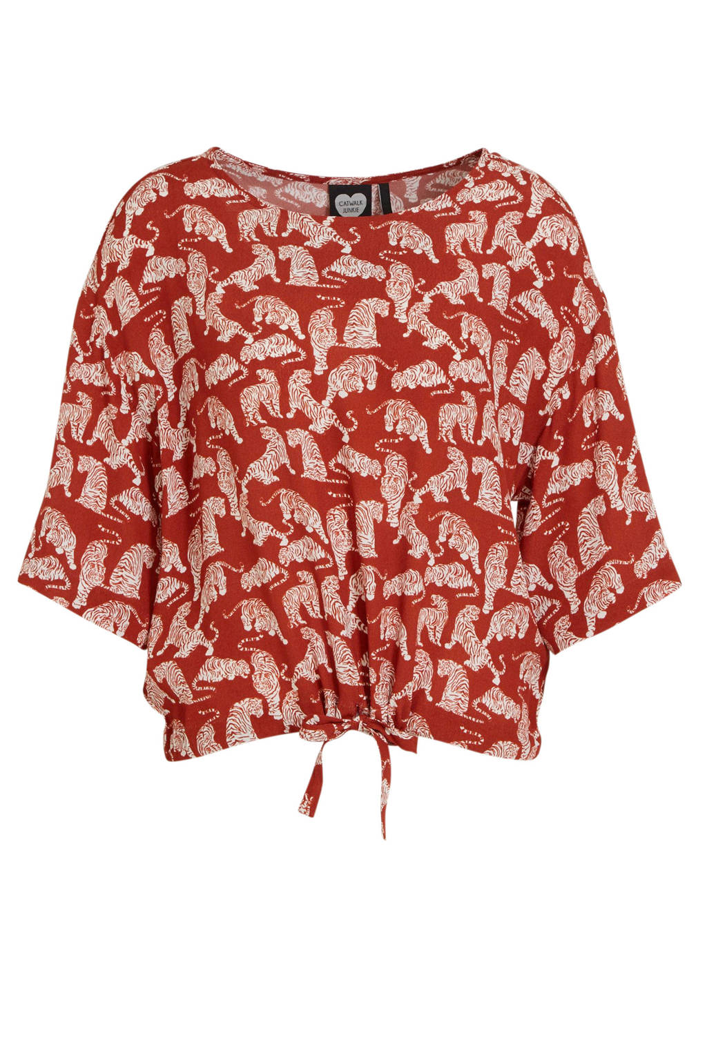 Catwalk Junkie top met all over print rood, Rood