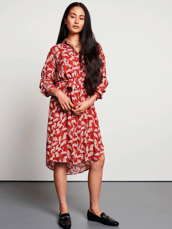 Catwalk Junkie blousejurk met all over print roodbruin, Roodbruin
