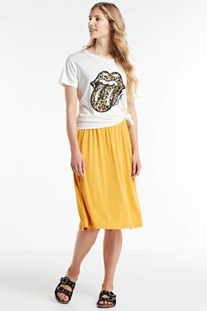 T-shirt met printopdruk ecru