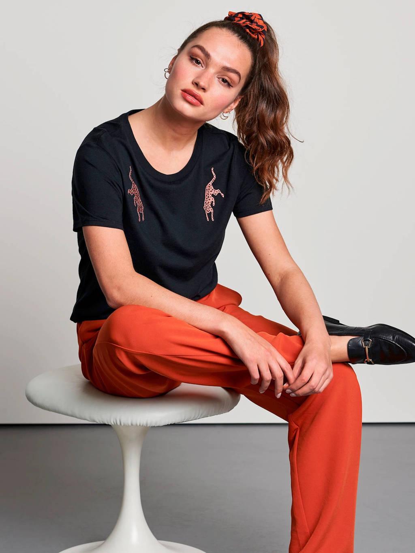 Catwalk Junkie T-shirt met borduursels zwart, Zwart