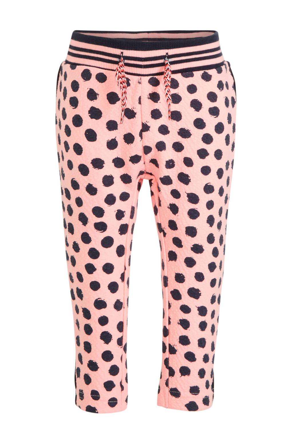 Dirkje joggingbroek met all over print roze/donkerblauw, Roze/donkerblauw