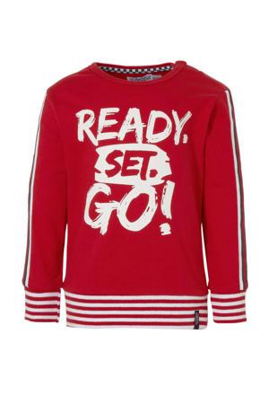 sweater met contrastbies rood/wit
